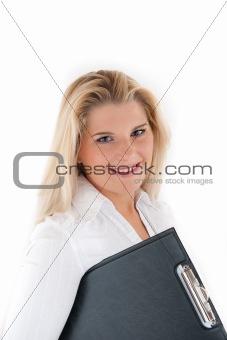 Beautiful business woman holding a folder