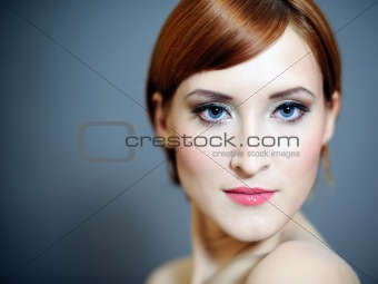 Portrait of pretty woman with pure skin and natural make-up