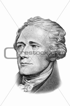 Alexander Hamilton portrait on ten dollars bill.