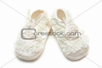 Pair baby satin slippers