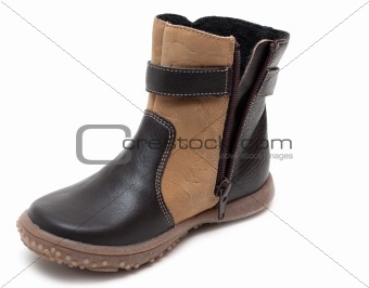 Baby brown leather winter shoe