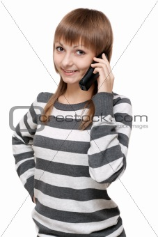 Beautiful girl with telephone in hand