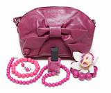 Violet feminine bag, necklace