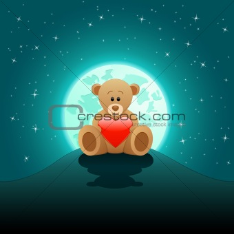 Valentine's Day card with a teddy bear