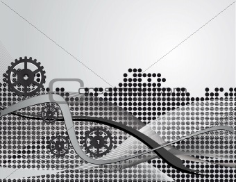 Gray abstract background with gears