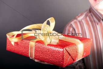 Man holds a gift
