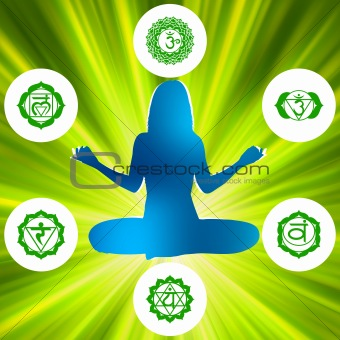 Six Chakras and spirituality symbols. EPS 8