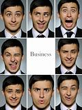 Collage group picture of many business man facial expressions
