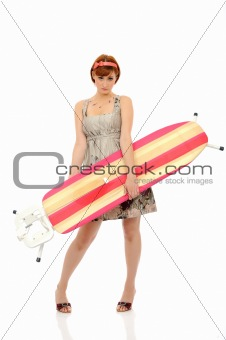 Beautiful house woman ironing . isolated on white background