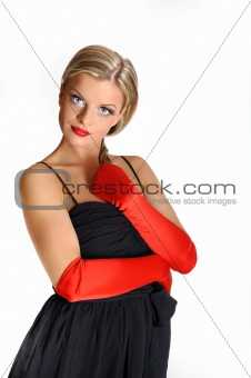 Portrait of sexy fashion woman with red lips in dress