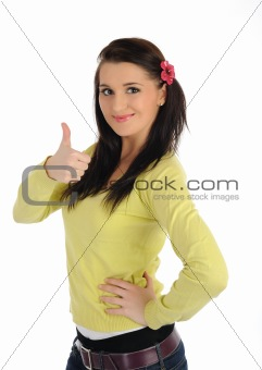 Beautiful casual positive woman smiling