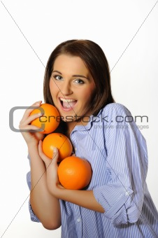young beautiful woman with citrus orange fruit. isolated