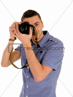 professional male photographer taking picture . isolated