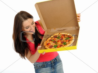 Pretty young casual woman with tasty pizza in delivery paper box