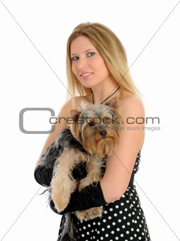 Beautiful blong girl holding small cute york terrier dog.