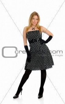 Beautiful sexy woman in elegant dress standing. studio shot.