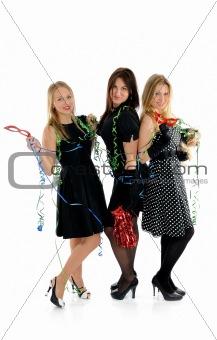 Group of three beautiful elegant woman celebrating . isolated