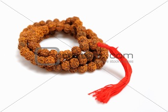 Traditional indian rosary for meditation - mala . isolated