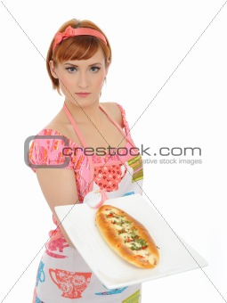 Beautiful cooking woman in apron with italian sandwich