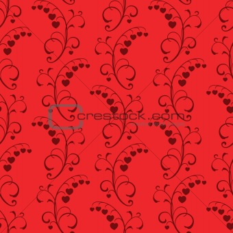 abstract floral red seamless vector background