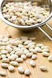 white beans in colander