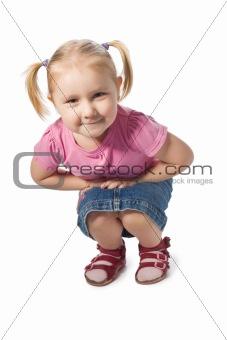 sitting little girl