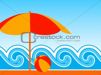 beach umbrella and waves