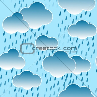 Background with clouds and rain drops