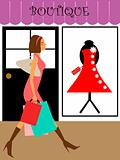 Woman Shopper Walking in Boutique Store