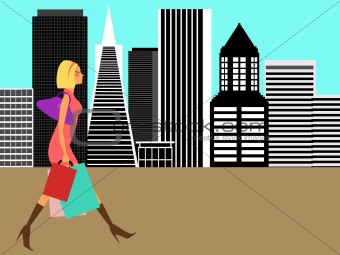 Modern Woman Shopping in the Big City