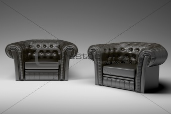 black leather armchair 3d