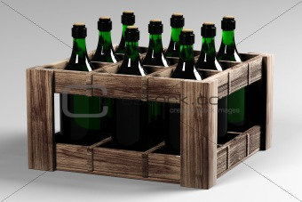 Box with bottles of wine