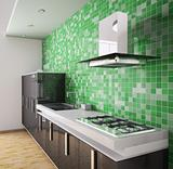 Modern black kitchen interior 3d