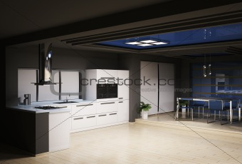 Interior kitchen 3d render