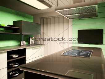 Interior of kitchen 3d render