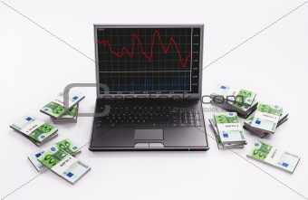 Black Laptop with chart and stacks of euros 3d