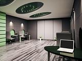 Computer office interior 3d