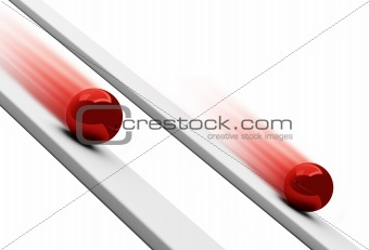 Red chrome balls rolling downwards 3d