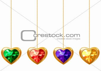Four hearts with gems