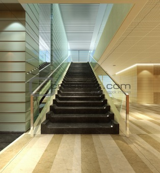 Modern apartment with staircase interior 3d render