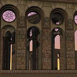 fantasy temple at dawn.