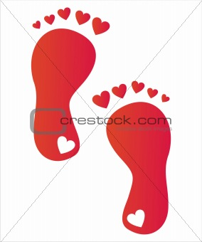 foot steps with hearts