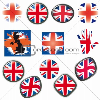 British Flag symbols icons Buttons vector illustration UK