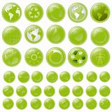 vector set: green buttons - aqua-style glossy buttons, blank and with 39 icons