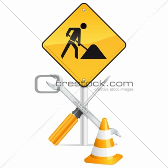screwdriver, spanner, pylon and road sign