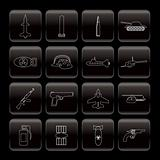 Line weapon, arms and war icons
