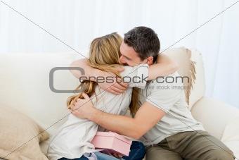 Happy pairs hugging