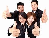 Asian young and success business team with thumb up