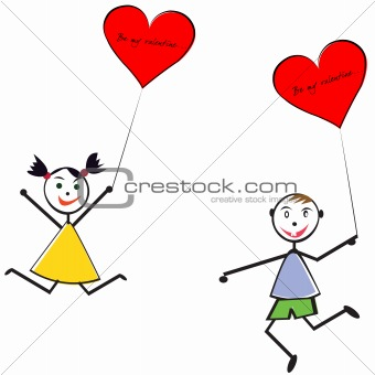 Boy and girl with baloons, Valentine's Day greeting card