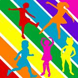 Colored hand draw children silhouettes